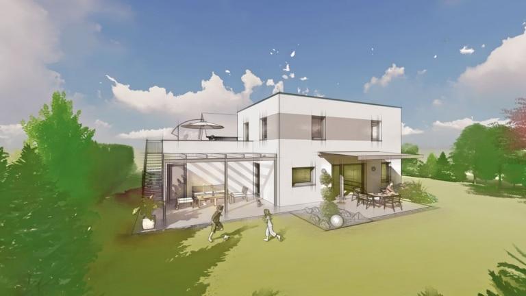 gezeichnetes Flachdachhaus mit spielenden Kindern im Garten