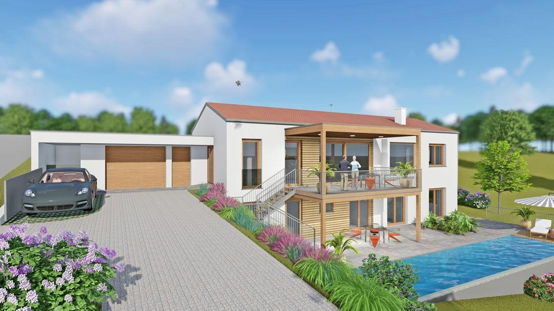 Modernes Satteldachhaus mit Pool und Garage